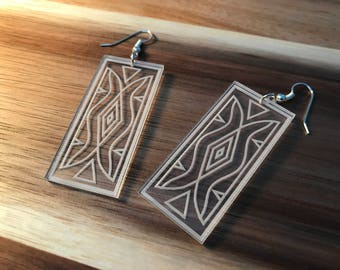 Parfleche Pattern Laser Etched Native American Earrings
