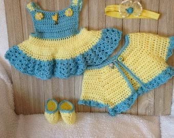 Crochet baby girl sundress, shrug,headband and slippers, baby newborn clothes, summer sundress