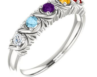 Mothers ring. Family ring. Grandmothers ring. 6 stones. 5 stones. 4 stones. 3 stones 2 stones. 1 stone. Gemstone ring. Birthstone ring.