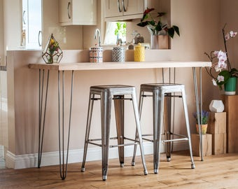 Oak Hairpin Medium Breakfast Bar Table