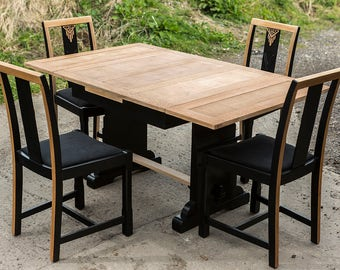 Restored And Updated Antique, Art Deco Style Solid Oak Extending Dining Table And Four Chairs