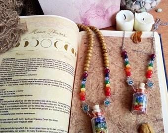 7 chakra vial terrarium bottle necklace