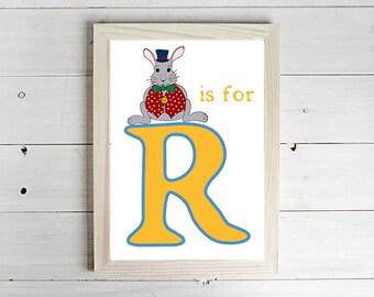 R is for Rabbit Alphabet Print - Unframed Art Print, Rabbit Drawing, Nursery Picture, Animal Wall Art, Children's Decor, Kid's Bedroom