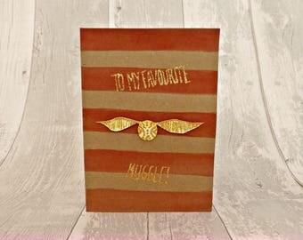 Muggle Harry Potter Birthday Card Stripes