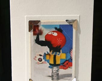 Handmade greetings/birthday card. Genuine vintage playing card, 1970s, The Magic Roundabout - Zebedee. Retro kids' TV.