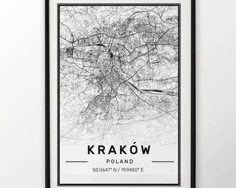 Krakow City Map Print, Modern Contemporary poster in sizes 50x70 fit for Ikea frame All city available London, New york Paris Madrid Rome