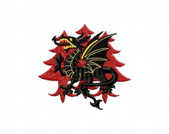 Dragon machine embroidery design SCA kingdom of Drachenwald