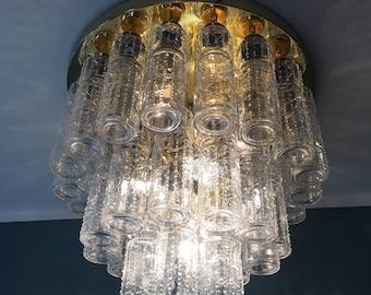 very large modernist chandelier | Glashütte Limburg | flush mount | glass and brass. 1960