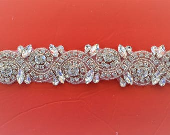 1 yard Rhinestone trim/ Rhinestone Chain/ Formal gown belt/ rhinestone  Swarovski shine silver
