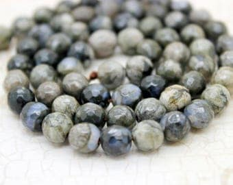 African Grey Opal Faceted Round Beads Natural Gemstone (4mm 6mm 8mm 10mm 12mm)