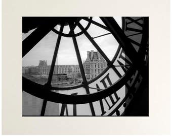 Orsay Time #1, Paris Black and White Photography, Musee d'Orsay Clock Art Print, Matted to 11x14