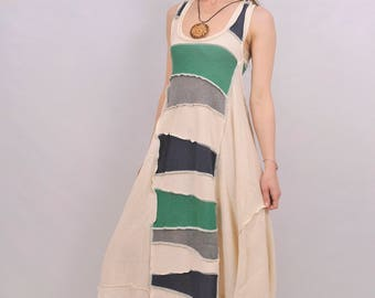 Elegant organic multicolor patchwork cotton/linen tunic