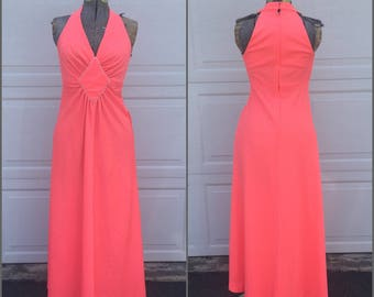 60's Bubblegum Pink Halter Maxi Dress || Vintage Empire Waist Full Length Dress, Medium