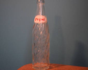 1964 Pepsi Bottle with dual logo and swirl
