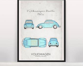 Volkswagen Beetle 1960s Poster