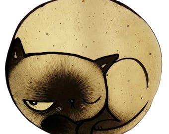 fused glass cat