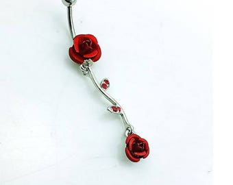 Double Rose Belly Button Ring