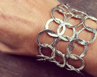 Sterling Silver Hammered Hoop Bracelet