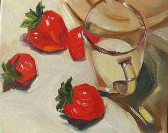 Modern still life original oil painting modern wall decor strawberries painting red white wall decor red berries picture cup and fruits