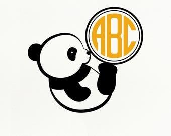 Panda SVG File, Panda Monogram dxf, png, eps for Silhouette Studio & Cricut, Cut File