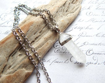 Quartz Crystal Double Point Pendulum Necklace on Stainless Steel Chain - Custom Length