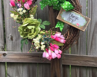 Pink tulips, large pale green rose grapevine wreath
