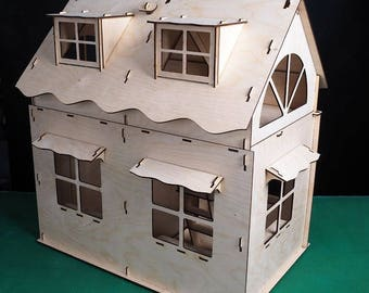 Birch plywood doll's double-storey house