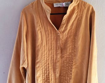 Lemon Grass 80s vintage button-up pleated shirt