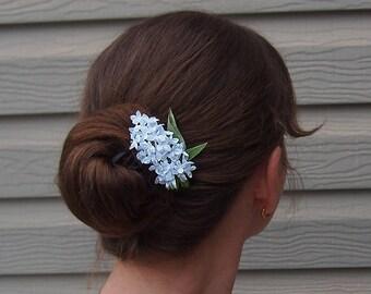 Hair clip wedding / White Bridal hairpiece / White lilac hair pin/ White hair flower/ Bridesmaid hair clip/ Prom hair clip/ Silk hair flower