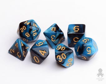 RPG Dice Set | Dungeons & Dragons, DnD, RPG Games, Polyhedral Dice Set | Sapphire Raven (KD0002)