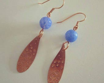 Paisely Shaped Copper Earrings with Blue Fire Agate