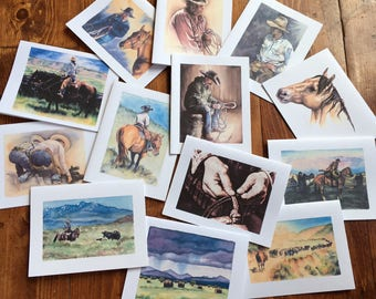 Original Watercolor Greeting Cards Blank Western any occasion