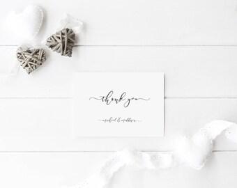 Thank You Card - Printable Thank you card - Kraft Thank you - Calligraphy - Digital Print - DIY wedding - Wedding Card - A5 Card