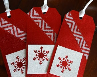 Set of large Red and White Christmas tags, Snowflake