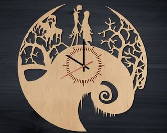 Nightmare Before Christmas Decor Wooden Wall Clock