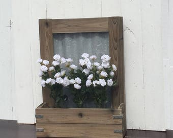 Rustic Metal and Wood Wall Planter
