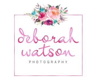 Floral watercolor logo, pink foil logo design, photography logo, floral logo, watercolor flower, premade branding template, instant download