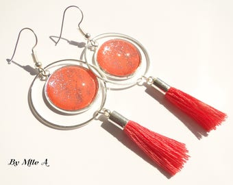 """cabochons in glass lacquered """"coral"""" glitter earrings"""