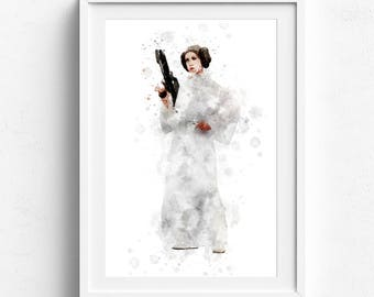 Star Wars Poster, Leia Star Wars, Poster Star Wars, Leia Organa Star Wars Art, Star Wars wall art, Watercolor Star Wars, Princess Leia print
