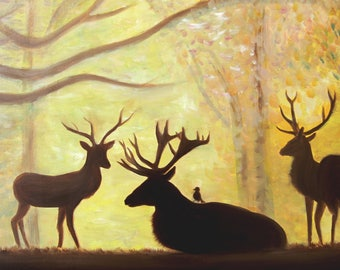 Deer in the forest Sunlights Animal Family of deer resting in forest Nature Oil painting Original Abstract wall art Gift for a family
