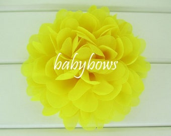 2 Yellow Big Flower Baby Girl Flower Hair Clips 1 Pair