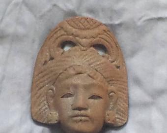 Vintage Cast Iron Aztec Mayan Chief God Decoration