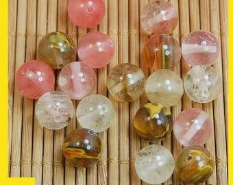 Natural beads-Genuine Stone Gemstone Round Spacer Loose Beads Wholesale 4,6,8,10,12mm- Volcano Cherry Quartz