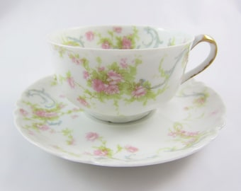 "Vintage Porcelain Haviland & Co. Limoges ""The Princess"" Pattern Teacup and Saucer with Blue ribbon with Pink Flowers. Made in France"