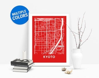 Kyoto Full Color Map Print | Kyoto Japan Map | Kyoto Art