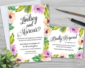 Watercolor Flowers Wedding Invitation - Wedding Invitation Design - Printable Wedding Invitation