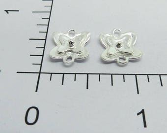4 Pieces 925 Sterling Silver Connector Links 14mm Flower Shape