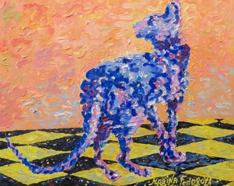 Cat Oil Painting, Orange Oil Painting, Impressionism, Orange and Blue Oil Painting, Impressionist Oil Painting, Blue Cat On a Orange