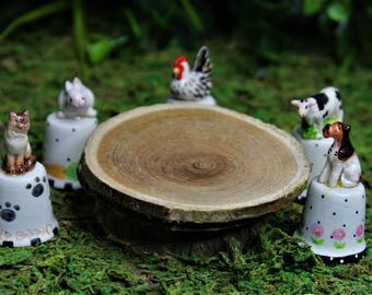 Miniature Fairy Garden Porcelain Ceramic Dog, Cat, Rooster, Cow, Rabbit Figurines on the Stand like Thimble with Small Wood Table, Dollhouse