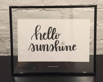 HELLO SUNSHINE Custom Calligraphy Lettering Quote Typography Personalized Poster Customizable Handmade Handwritten Frame Included